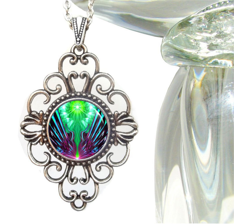"Green & Purple Necklace, Psychedelic Art, Hippie Jewelry ""Spreading New Wings"" - product images  of"