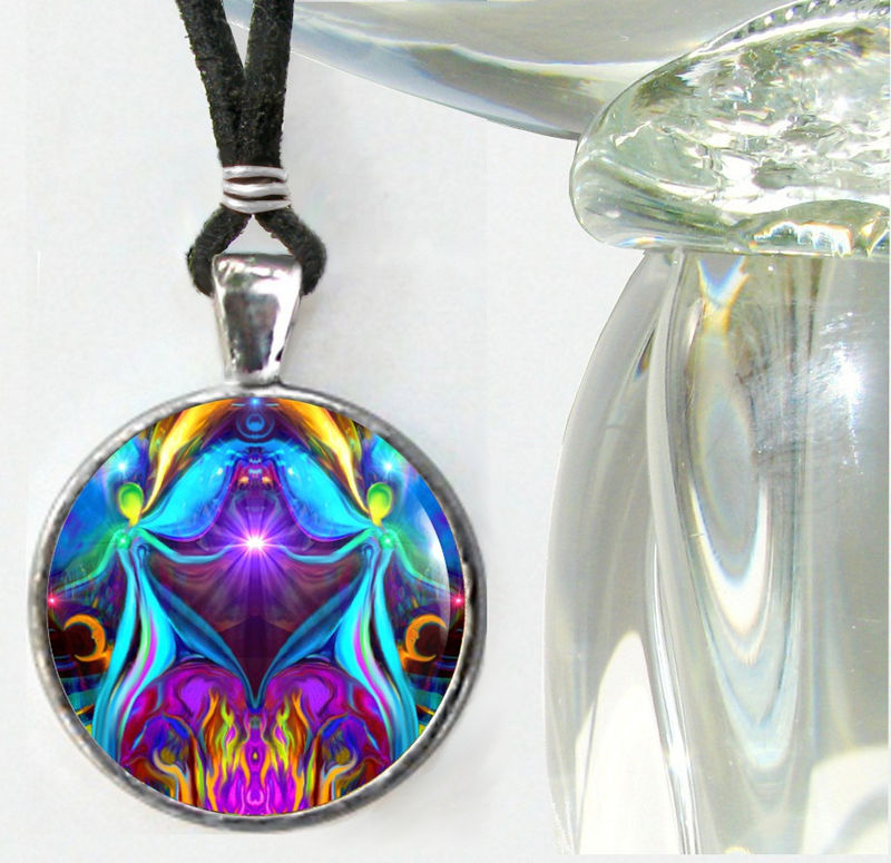 "Twin Flames Necklace, Reiki Energy Jewelry ""Violet Flame Heart"" - product images  of"