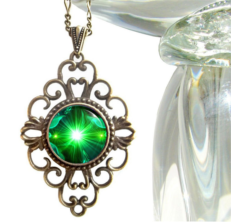"Unique Green Necklace, Heart Chakra Jewelry ""Angel Hearts"" - product images  of"