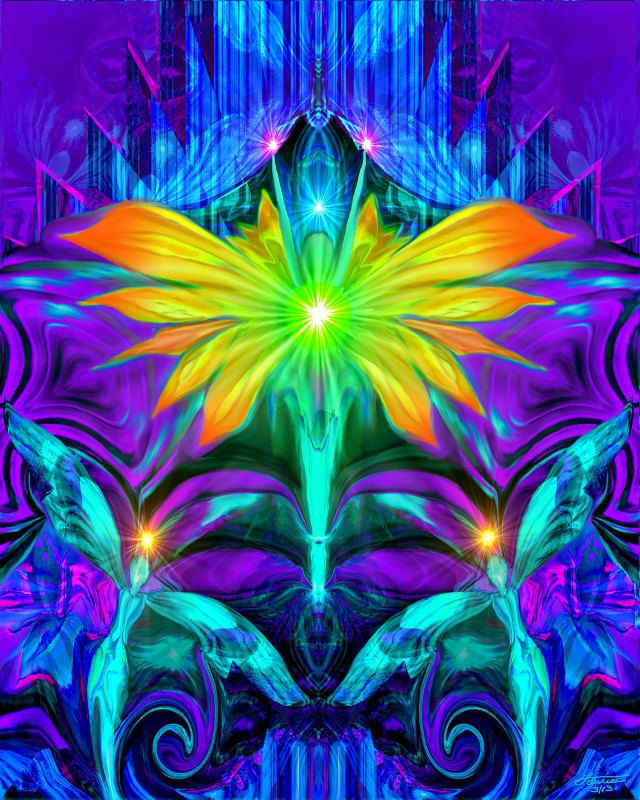 Psychedelic Angel Art, Chakra Healing Print, Reiki Wall Decor