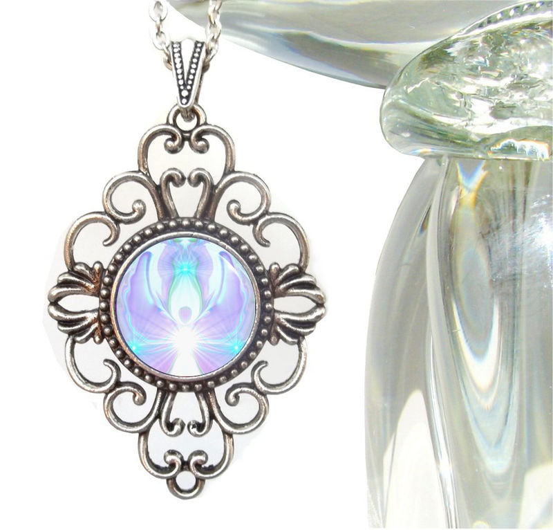 "Crown Chakra Necklace, White Violet Angel Pendant ""On The Wings of Angels"" - product images  of"