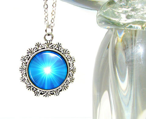 Throat,Chakra,Necklace,,Feminine,Bright,Blue,Pendant,,Reiki,Energy,Jewelry,bright, colorful, metaphysical, blue, starburst, abstract, necklace, pendant, pendant necklace, reiki, healing, energy, spiritual, jewelry, meditation, chakras, angel, yoga, alternative healing, visionary, art