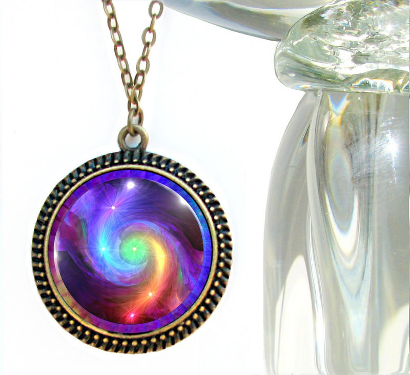Chakra Jewelry, Rainbow Swirl Reiki Energy Necklace, Unique Jewelry - product images  of