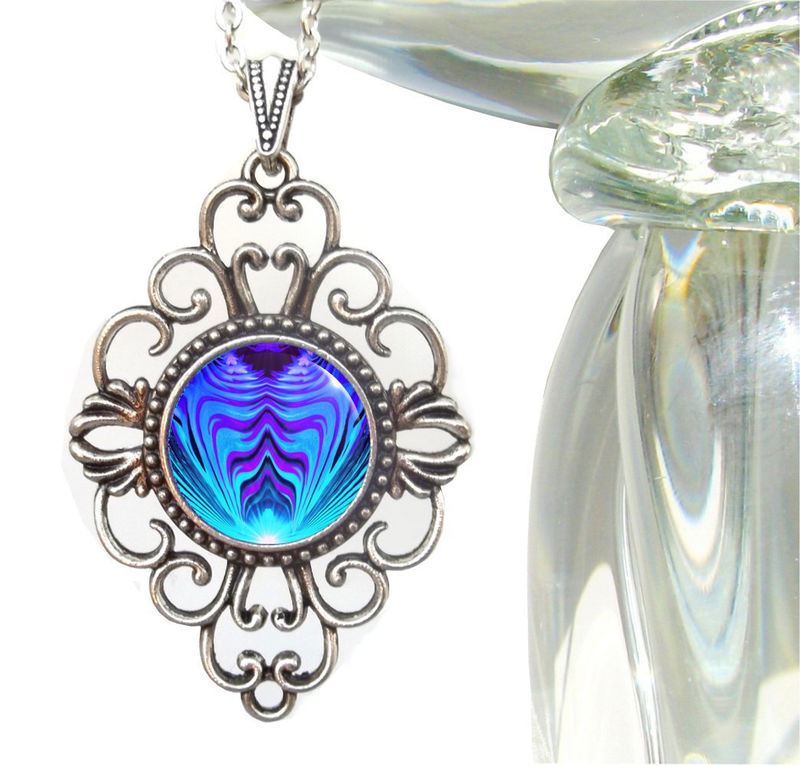 "Purple & Teal Jewelry, Abstract Art, Reiki Healing Necklace ""Intuitive Truth"" - product images  of"