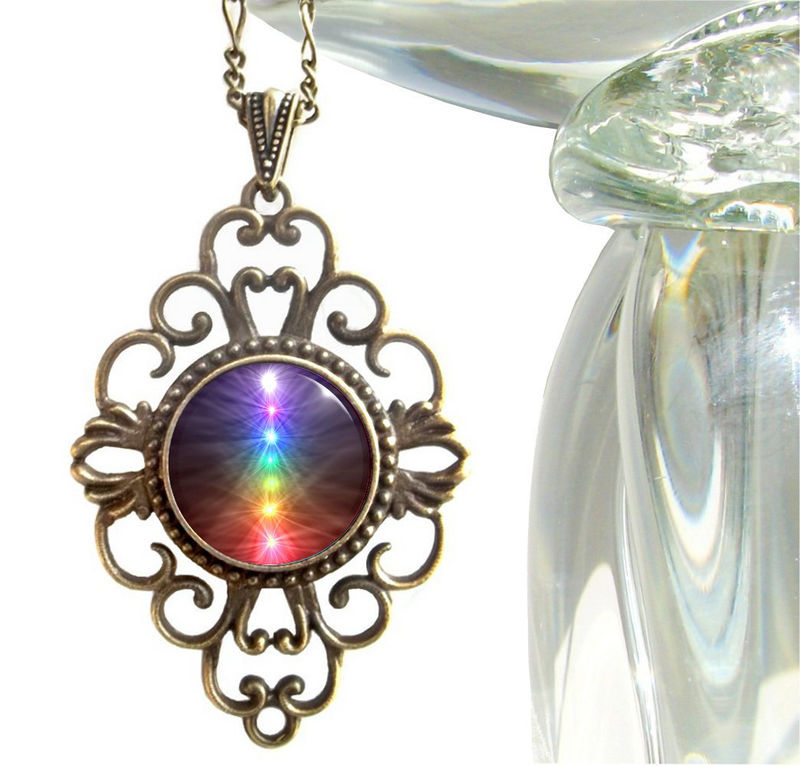 "Unique Chakra Jewelry, Reiki Necklace, Energy Art Pendant ""Chakra Balance"" - product images  of"