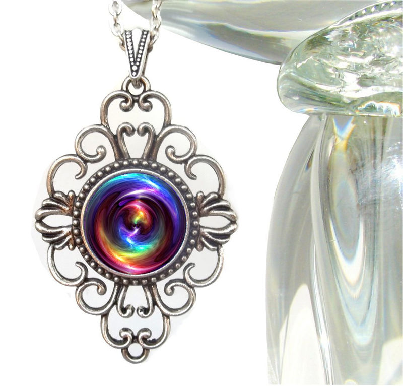 "Chakra Necklace, Reiki Healing Pendant,  Unique Jewelry ""Chakra Swirl"" - product images  of"