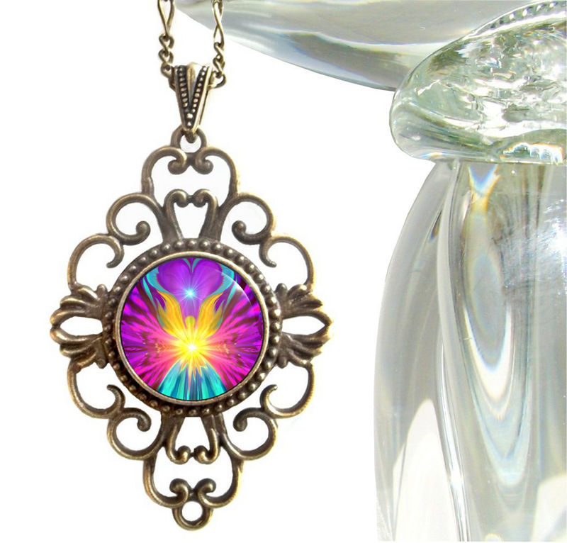 "Unique Rainbow Chakra Pendant, Angel Necklace, Reiki Jewelry ""Beacon"" - product images  of"