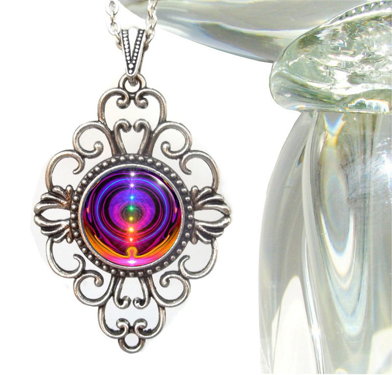 "Rainbow Chakra Necklace, Reiki Energy Healing Jewelry ""Chakra Alignment"" - product images  of"