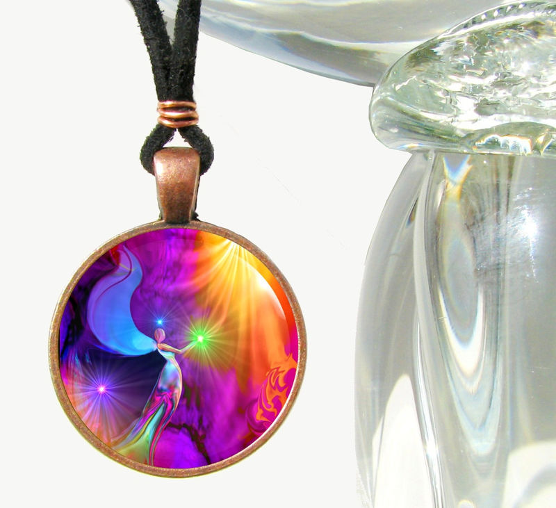 "Rainbow Angel Art Pendant Necklace, Reiki Energy Healing ""The Gift"" - product images  of"