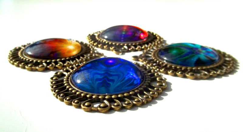 "Purple & Teal Twin Flames Jewelry, Hippie Necklace,  Chakra Pendant ""Unity"" - product images  of"