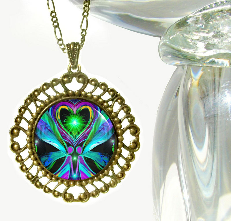"Twin Flames Necklace, Reiki Healing, Large Angel Pendant Necklace ""Unconditional Love"" - product images  of"