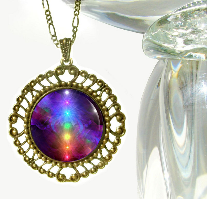 "Chakra Jewelry, Rainbow Necklace, Energy Healing Pendant ""Chakra Alignment"" - product images  of"