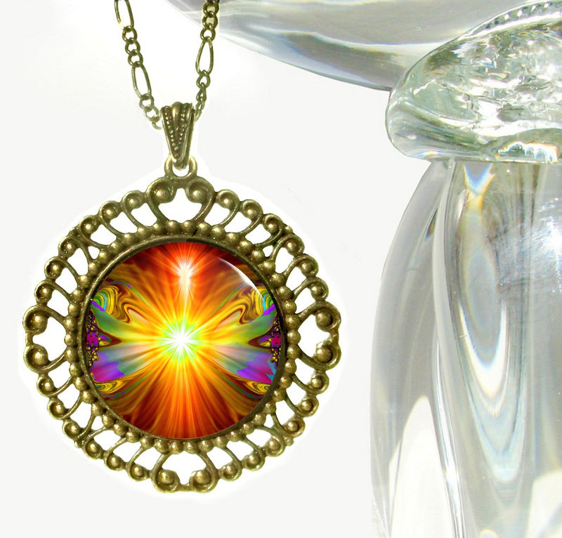 "Orange Psychedelic Necklace, Chakra Jewelry ""Light Being"" - product images  of"