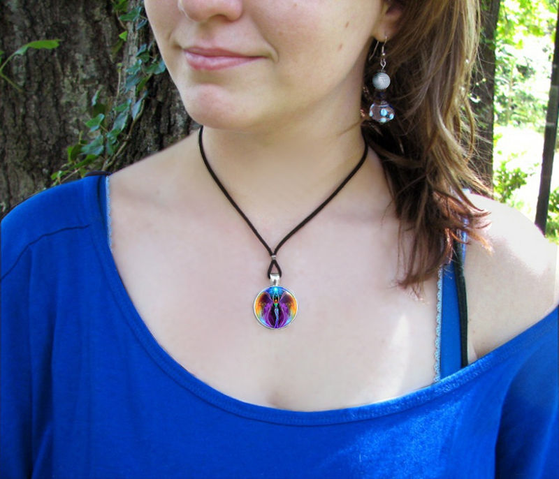 "Rainbow Necklace, Unique Jewelry, Glowing Angel Pendant ""Embrace Light"" - product images  of"