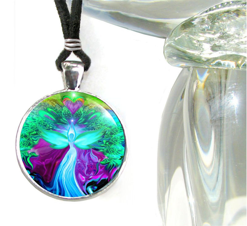 "Teal Violet Necklace, Angel Pendant, Reiki Jewelry ""Water Healer"" - product images  of"