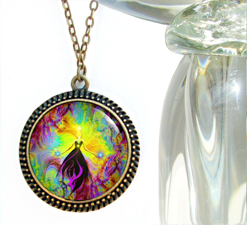 "Reiki Healing Jewelry, Violet Flame Pendant Necklace ""Empowerment"" - product images  of"