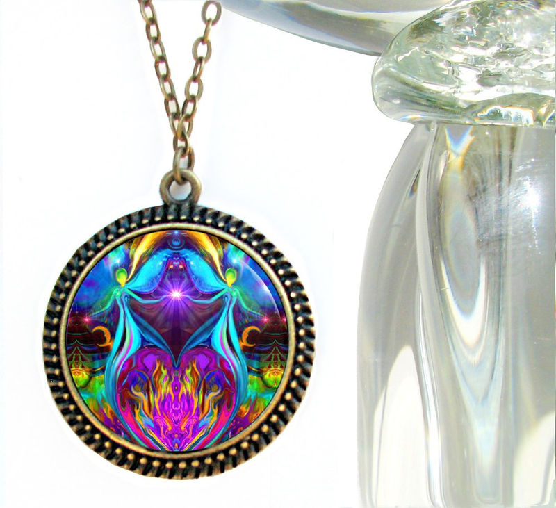 "Violet Flame Necklace, Twin Flames Pendant, Unique Reiki Jewelry ""Violet Flame Heart"" - product images  of"