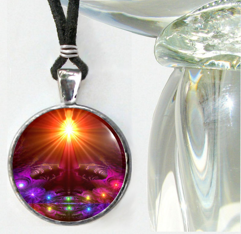 "Chakra Jewelry, Rainbow Pendant, Wearable Art Jewelry ""The Protector"" - product images  of"