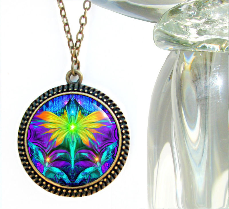 "Wearable Art Pendant, Chakra Jewelry, Rainbow Reiki Necklace ""Center"" - product images  of"