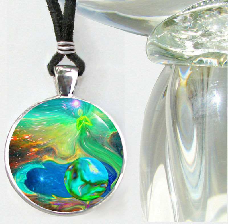 "Psychedelic Jewelry, Rainbow Reiki Necklace, Chakra Pendant ""Earth Angels"" - product images  of"