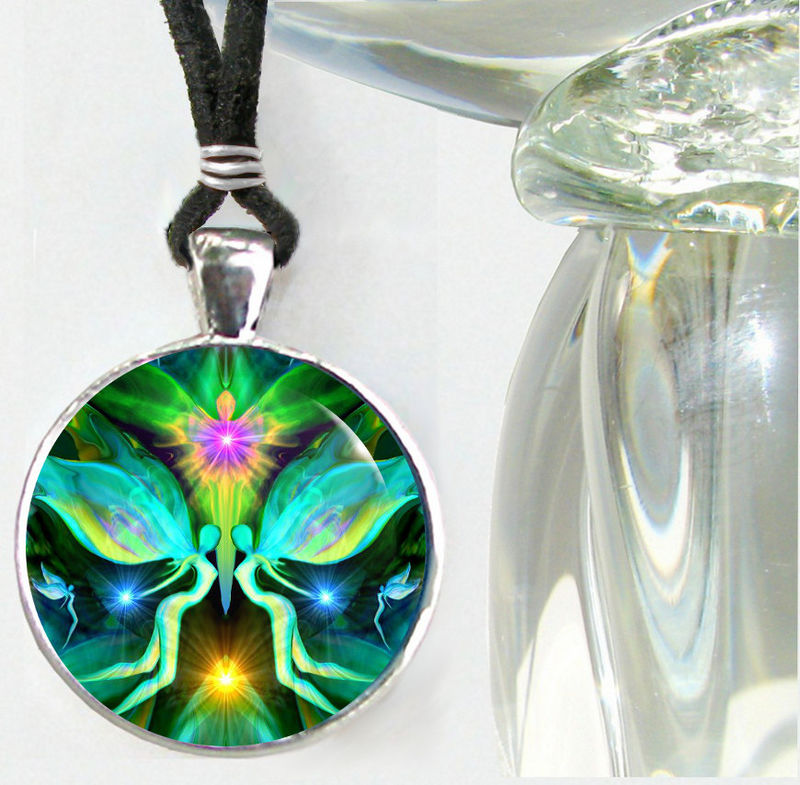 "Twin Flames Necklace, Heart Chakra Jewelry, Green Angel Pendant ""Duality"" - product images  of"