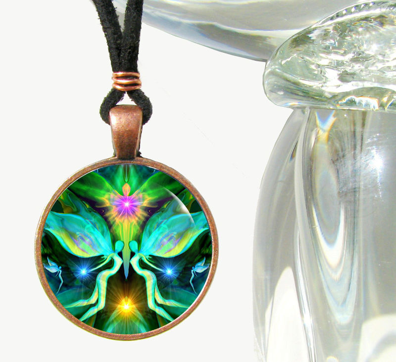 "Twin Flames Necklace, Heart Chakra Jewelry, Reiki Energy Pendant ""Duality"" - product images  of"