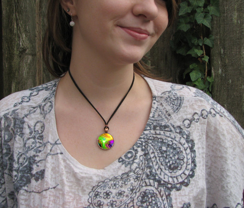 "Rainbow Jewelry, Angel Necklace, Chakra Art Pendant ""Awakening"" - product images  of"