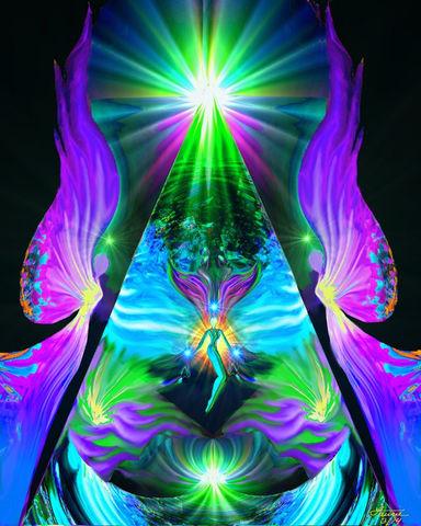 Yellow Third Chakra Art, Reiki Angel Energy Art Photo Print