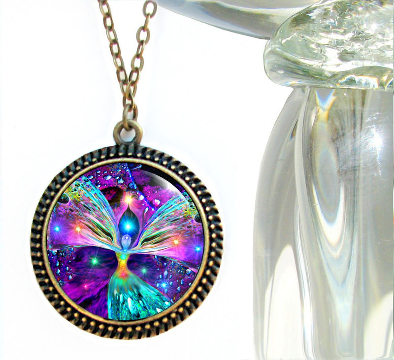 "Rainbow Necklace, Chakra Art, Angel Necklace, Reiki Jewelry ""Bubbles of Clearing"" - product images  of"