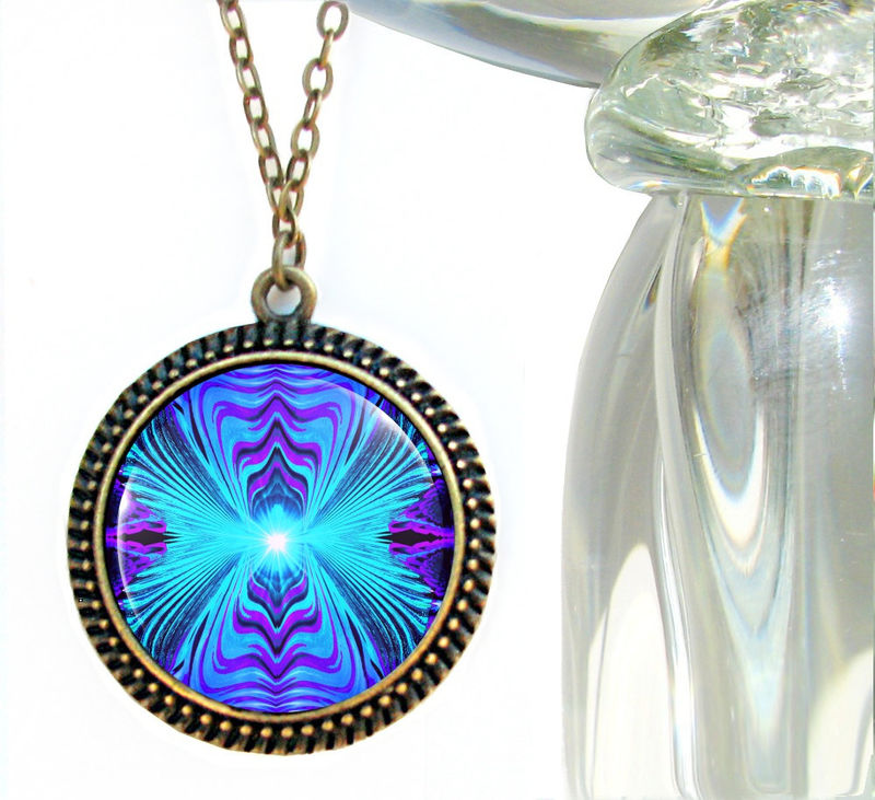 "Purple Teal Chakra Jewelry, Reiki Energy Necklace, Wearable Art ""Intuitive Truth"" - product images  of"