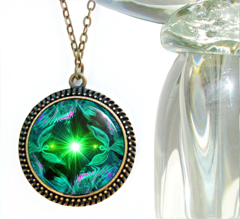 "Green Heart Chakra Necklace, Reiki Energy Art Pendant, Angel Jewelry ""Angel Heart"" - product images  of"