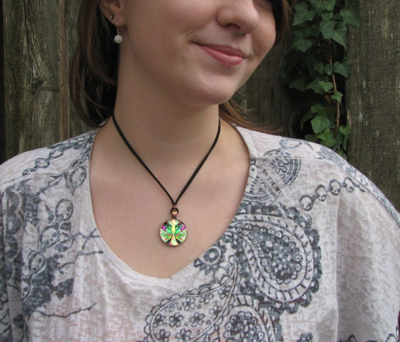 "Chakra Jewelry, Reiki Angel Pendant Necklace, Pastel Green Fairy Art ""Growth"" - product images  of"