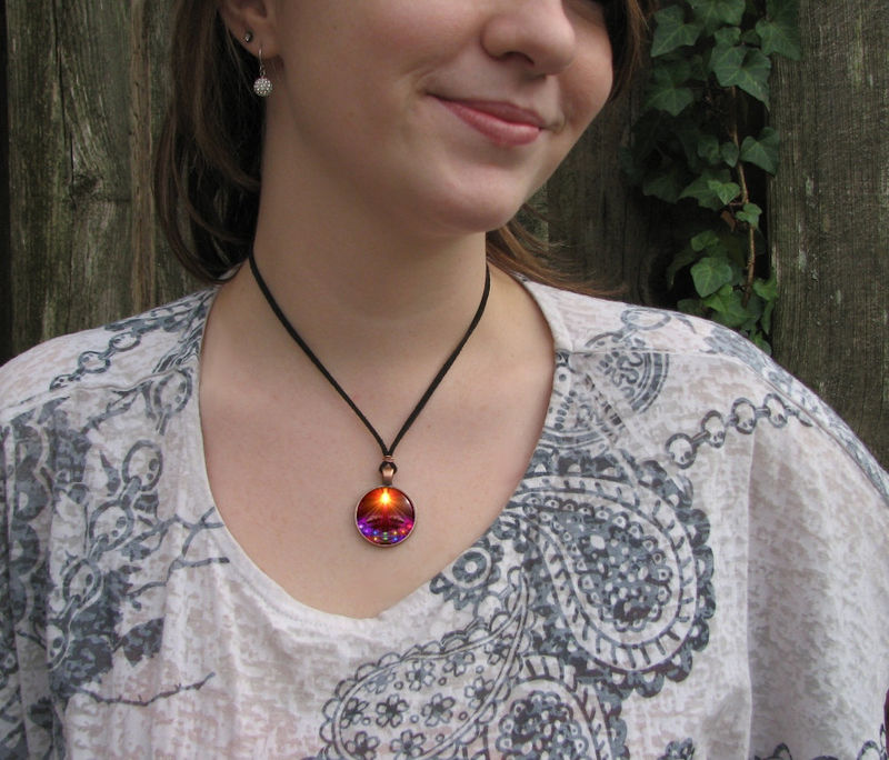 "Psychedelic Necklace, Chakra Jewelry, Reiki Energy Art Pendant ""The Protector"" - product images  of"