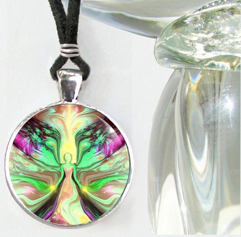 "Green Yellow Chakra Jewelry, Angel Pendant Necklace ""Growth"" - product images  of"