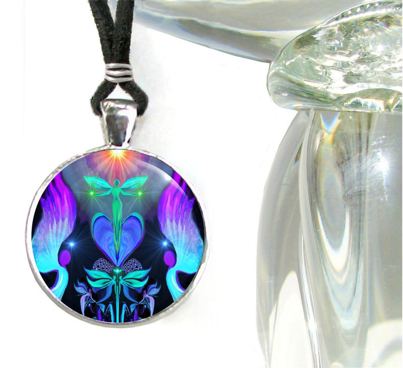 "Reiki Jewelry, Energy Necklace, Angel Art Pendant ""Angels And Dragonflies"" - product images  of"