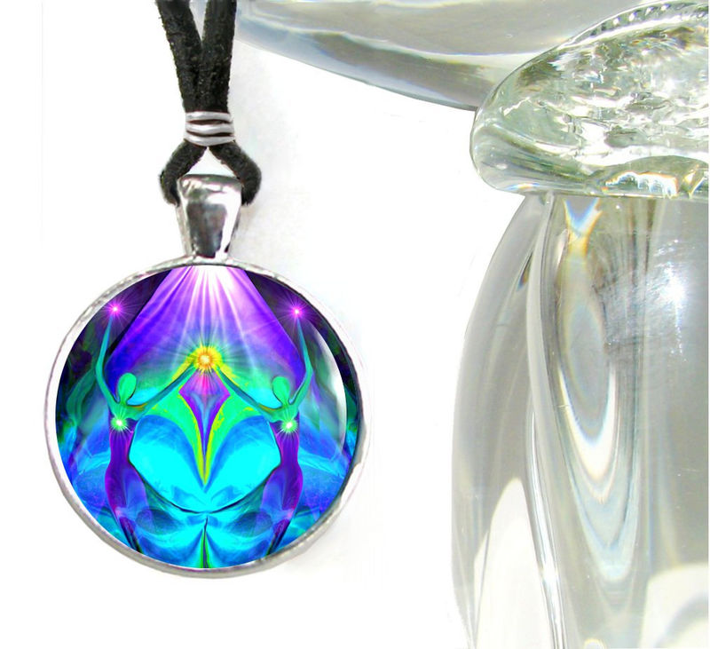 "Purple Teal Jewelry, Twin Flames Necklace, Reiki Energy Pendant, ""Unity"" - product images  of"