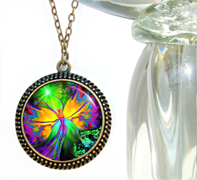 "Chakra Angel Necklace, Energy Pendant, Reiki Jewelry ""From Dark to Light"" - product images  of"