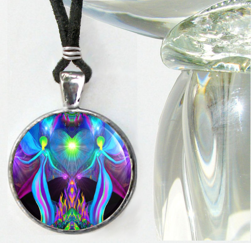 "Violet Flame Jewelry, Angel Lovers, Heart Pendant, Chakra Necklace ""Twin Flames"" - product images  of"