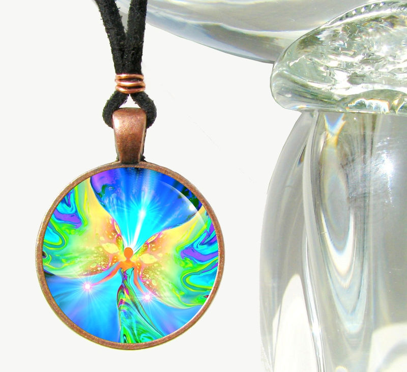 "Chakra Necklace, Angel Pendant, Reiki Jewelry ""Ease"" - product images  of"