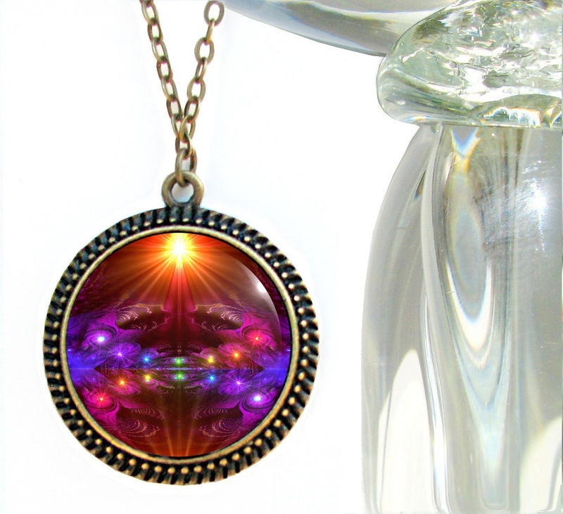 "Rainbow Jewelry, Chakra Necklace, Reiki Energy Pendant ""The Protector"" - product images  of"
