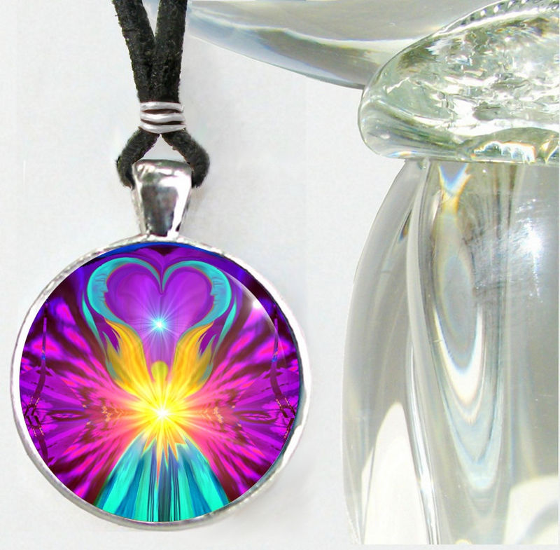 "Reiki Jewelry, Chakra Necklace, Rainbow Angel Pendant ""The Beacon"" - product images  of"