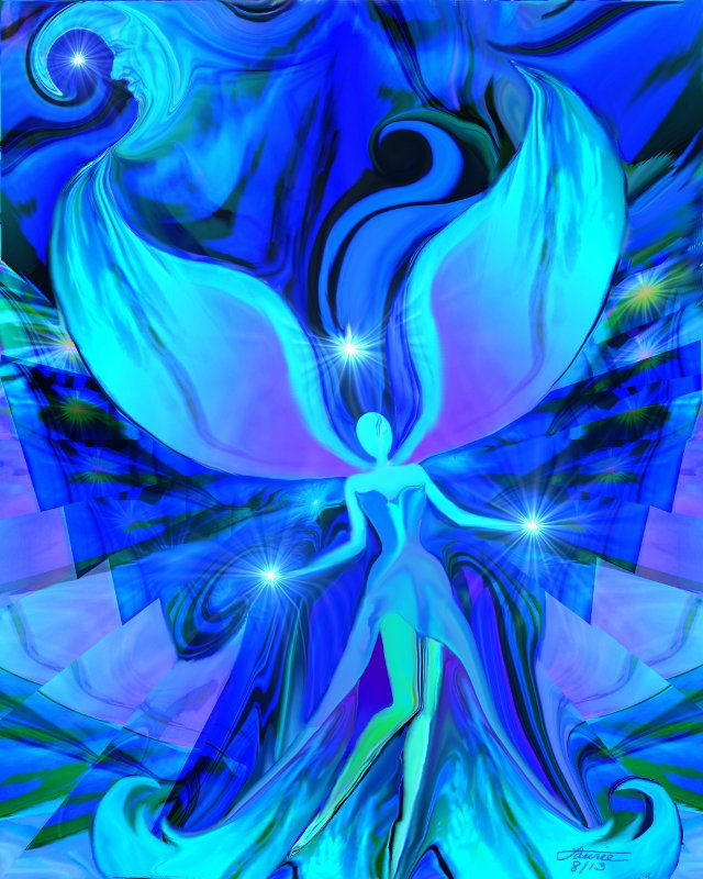 Blue Art, Reiki Angel, Chakra Healing Energy Art Print