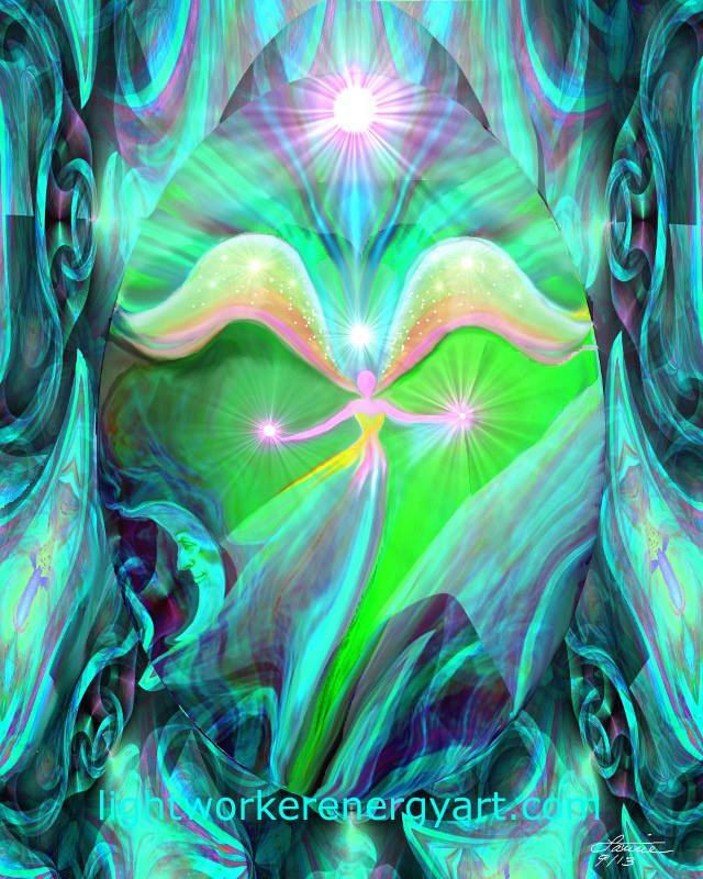 Heart Chakra Art, Green Reiki Healing Angel Print