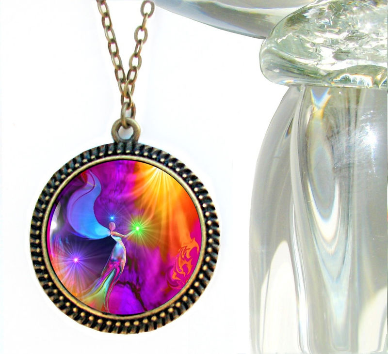 "Energy Pendant, Rainbow Chakra Necklace, Reiki Angel Jewelry ""The Gift"" - product images  of"
