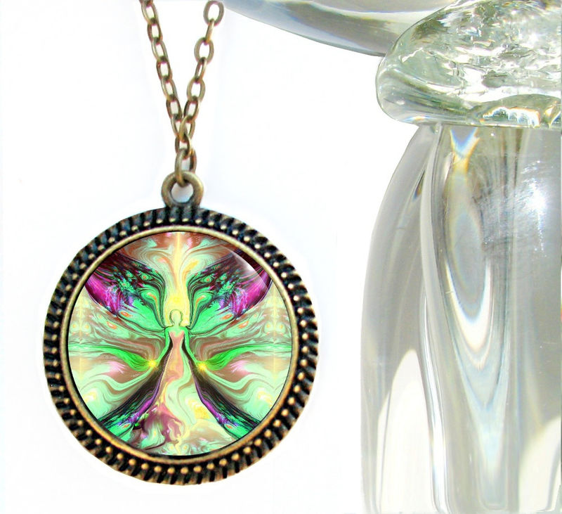 "Green Heart Chakra Jewelry, Angel Necklace, Reiki Attuned ""Growth"" - product images  of"
