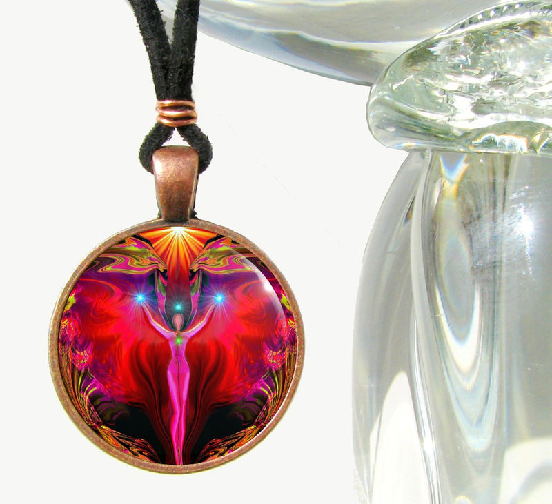 "Root Chakra Necklace, Reiki Energy Healing Angel Pendant ""Primal Healing"" - product images  of"