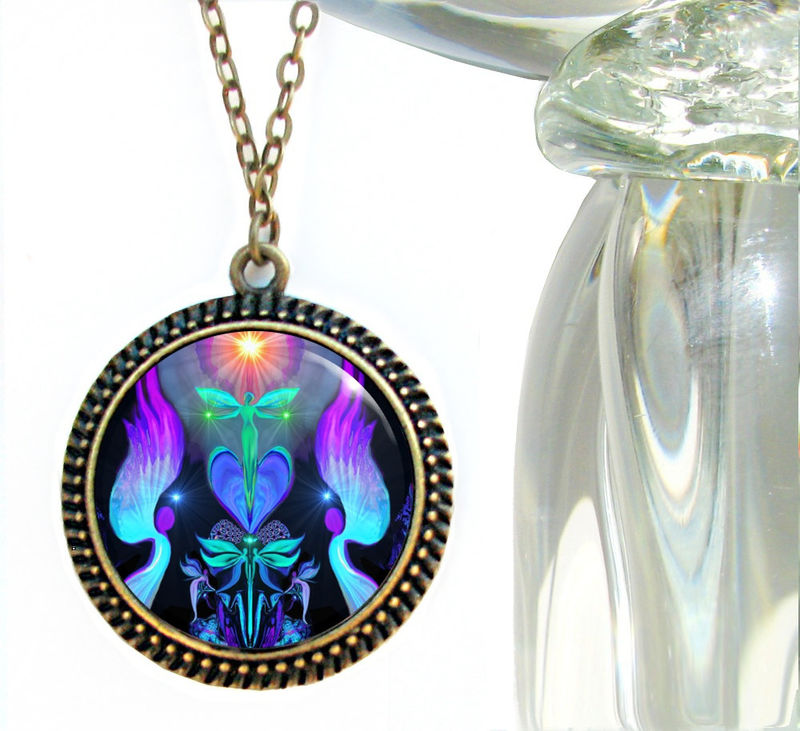 "Reiki Jewelry, Chakra Healing Pendant, Energy Necklace ""Angels And Dragonflies"" - product images  of"