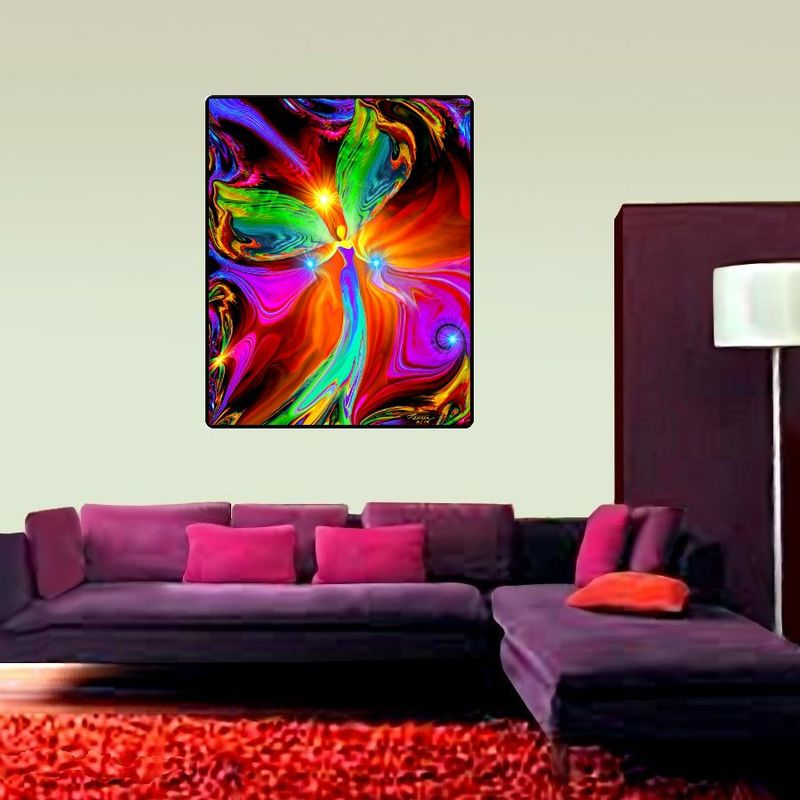 "Red Angel Tapestry, Huge Reiki Art, Spiritual Healing - ""Healing Hands"" 40"" x 50"" - product images  of"