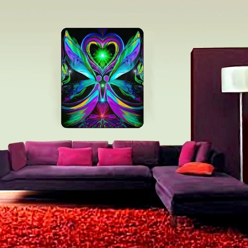 "Twin Flame Tapestry, Angel Art, Reiki Wall Decor ""Unconditonal Love"" - product images  of"