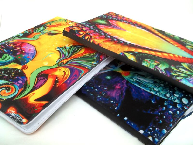 "Chakra Art, Rainbow Sketchbook, Reiki Healing Journal, Hardcover Abstract Notebook ""Recalibration"" - product images  of"